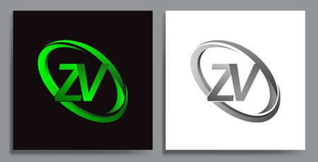 letter ZV logotype design for company name colored Green swoosh and grey. vector set logo design for business and company identity.