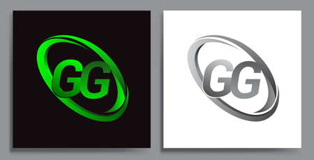letter GG logotype design for company name colored Green swoosh and grey. vector set logo design for business and company identity.
