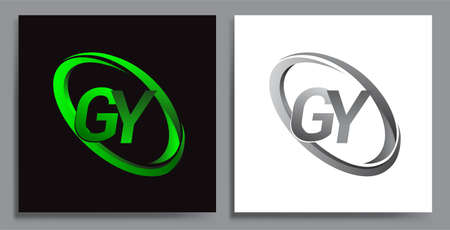 letter GY logotype design for company name colored Green swoosh and grey. vector set logo design for business and company identity.