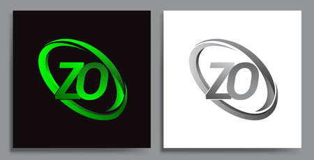 letter ZO logotype design for company name colored Green swoosh and grey. vector set logo design for business and company identity.
