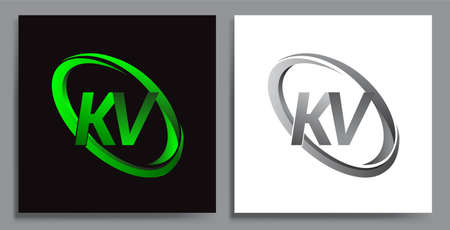 letter KV logotype design for company name colored Green swoosh and grey. vector set logo design for business and company identity.