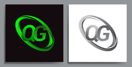 letter QG logotype design for company name colored Green swoosh and grey. vector set logo design for business and company identity. Illusztráció