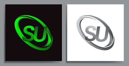 letter SU logotype design for company name colored Green swoosh and grey. vector set logo design for business and company identity.