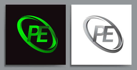 letter PE logotype design for company name colored Green swoosh and grey. vector set logo design for business and company identity.