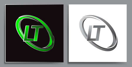letter LT logotype design for company name colored Green swoosh and grey. vector set logo design for business and company identity.