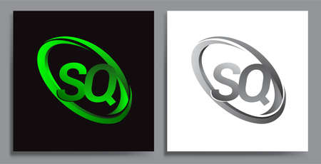 letter SQ logotype design for company name colored Green swoosh and grey. vector set logo design for business and company identity. Logó