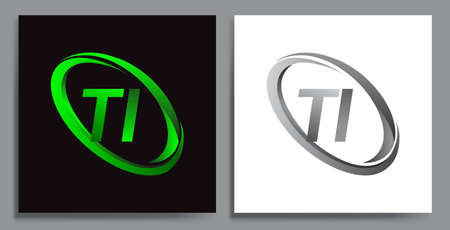 letter TI logotype design for company name colored Green swoosh and grey. vector set logo design for business and company identity.
