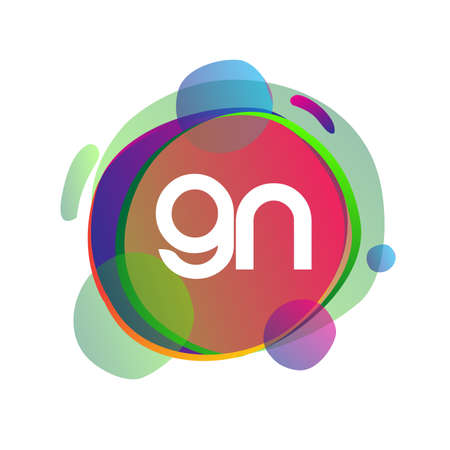 Letter GN logo with colorful splash background, letter combination logo design for creative industry, web, business and company. Illusztráció