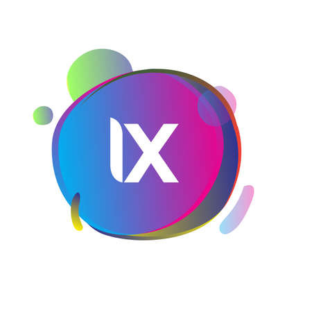 Letter IX logo with colorful splash background, letter combination logo design for creative industry, web, business and company. Ilustração