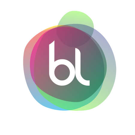 Letter BL   with colorful splash background, letter combination   design for creative industry, web, business and company.