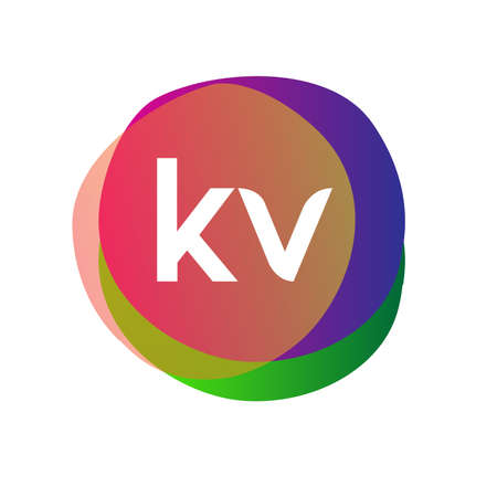 Letter KV logo with colorful splash background, letter combination logo design for creative industry, web, business and company.
