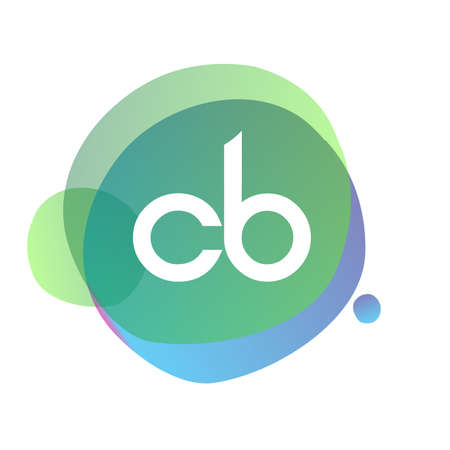 Letter CB with colorful splash background, letter combination design for creative industry, web, business and company.