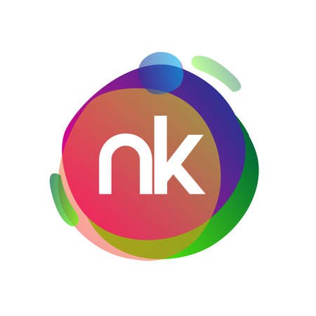 Letter NK logo with colorful splash background, letter combination logo design for creative industry, web, business and company. Ilustrace