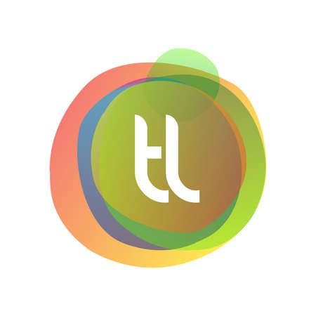 Letter TL logo with colorful splash background, letter combination logo design for creative industry, web, business and company.