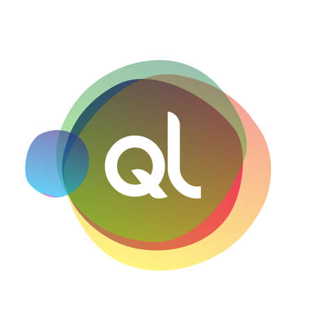 Letter QL logo with colorful splash background, letter combination logo design for creative industry, web, business and company.