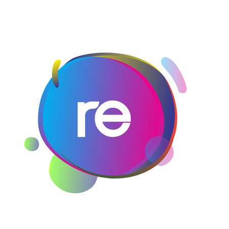 Letter RE logo with colorful splash background, letter combination logo design for creative industry, web, business and company. Logo