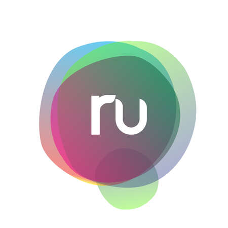 Letter RU logo with colorful splash background, letter combination logo design for creative industry, web, business and company.