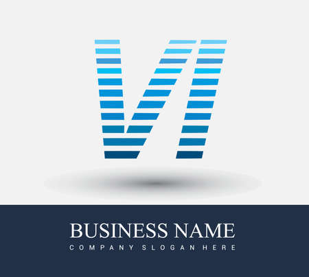 initial letter logo VI colored blue with striped compotition, Vector logo design template elements for your business or company identity.