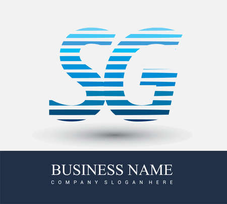 initial letter logo SG colored blue with striped compotition, Vector logo design template elements for your business or company identity.