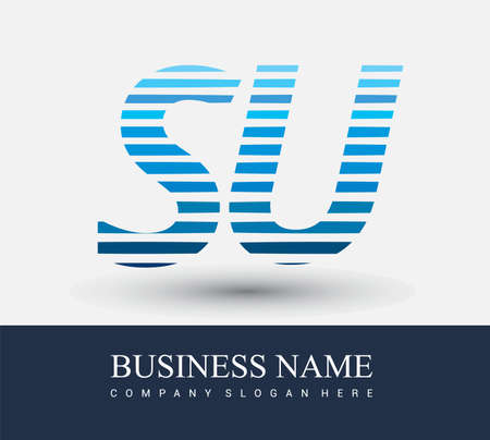 initial letter logo SU colored blue with striped compotition, Vector logo design template elements for your business or company identity.