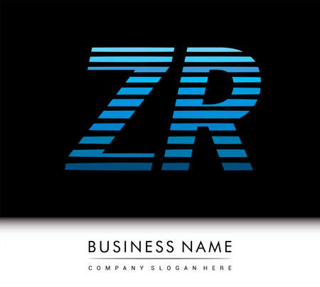 initial letter logo ZR colored blue with striped compotition, Vector logo design template elements for your business or company identity. Logó