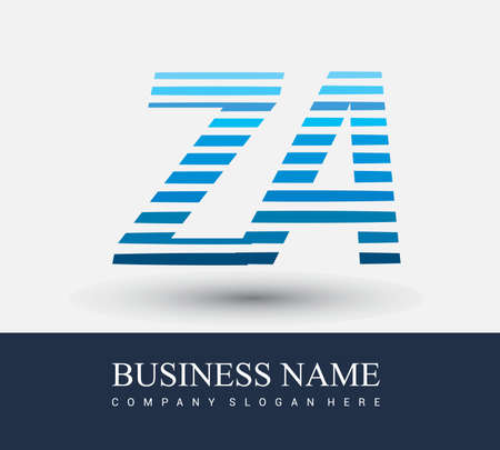 initial letter logo ZA colored blue with striped compotition, Vector logo design template elements for your business or company identity.