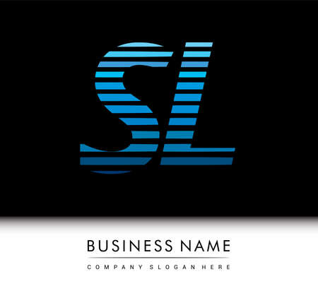 initial letter logo SL colored blue with striped compotition, Vector logo design template elements for your business or company identity.