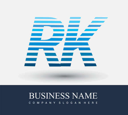 initial letter logo RK colored blue with striped compotition, Vector logo design template elements for your business or company identity.
