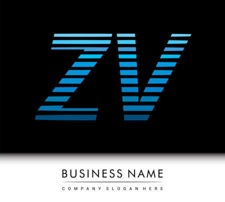 initial letter logo ZV colored blue with striped compotition, Vector logo design template elements for your business or company identity.
