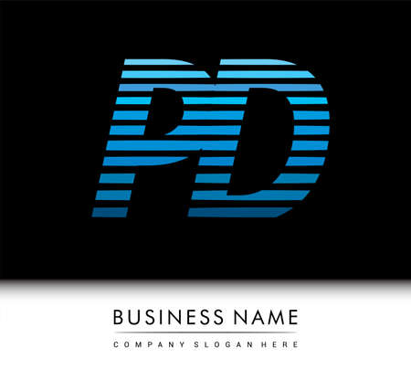 initial letter logo PD colored blue with striped compotition, Vector logo design template elements for your business or company identity.