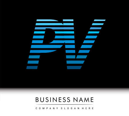 initial letter logo PV colored blue with striped compotition, Vector logo design template elements for your business or company identity.