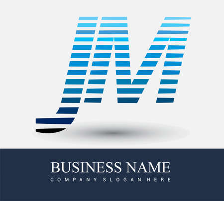 initial letter logo JM colored blue with striped compotition, Vector logo design template elements for your business or company identity.