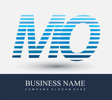 initial letter logo MO colored blue with striped compotition, Vector logo design template elements for your business or company identity.