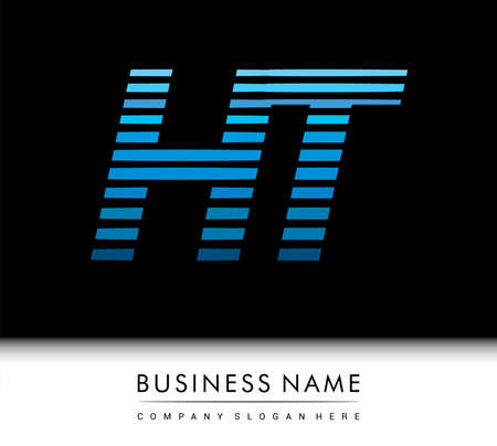 initial letter logo HT colored blue with striped compotition, Vector logo design template elements for your business or company identity.