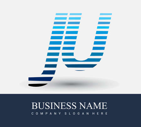 initial letter   JU colored blue with striped  , Vector   design template elements for your business or company identity. 向量圖像