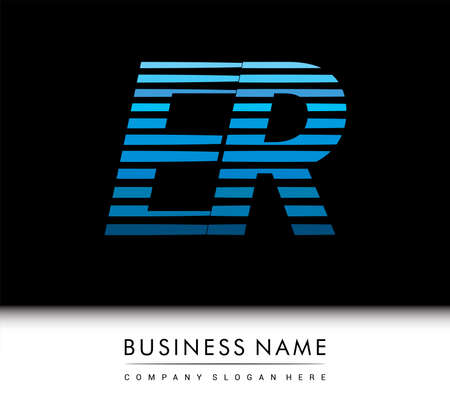 initial letter ER colored blue with striped , Vector design template elements for your business or company identity.
