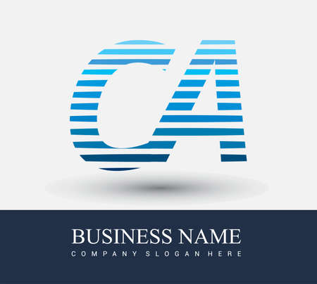 initial letter logo CA colored blue with striped compotition, Vector logo design template elements for your business or company identity.