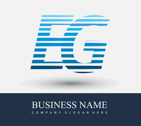 initial letter logo EG colored blue with striped compotition, Vector logo design template elements for your business or company identity.