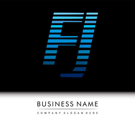 initial letter logo FJ colored blue with striped compotition, Vector logo design template elements for your business or company identity.