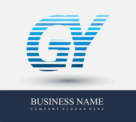initial letter logo GY colored blue with striped compotition, Vector logo design template elements for your business or company identity.