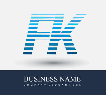 initial letter logo FK colored blue with striped compotition, Vector logo design template elements for your business or company identity.