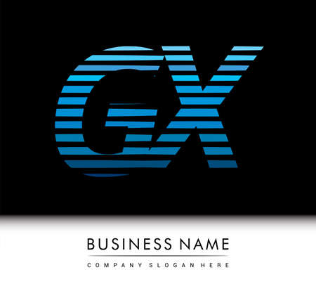 initial letter logo GX colored blue with striped compotition, Vector logo design template elements for your business or company identity.
