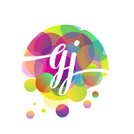 Letter GJ logo with colorful splash background, letter combination logo design for creative industry, web, business and company.