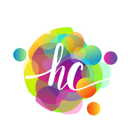 Letter HC logo with colorful splash background, letter combination logo design for creative industry, web, business and company.