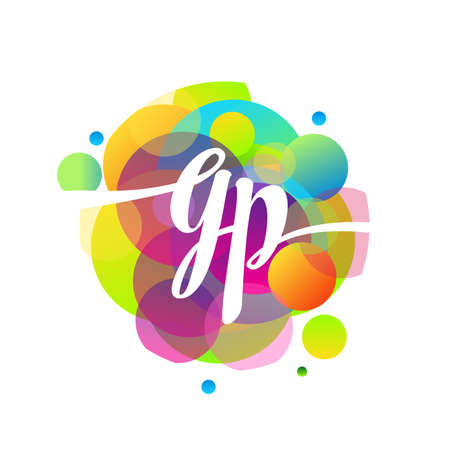 Letter GP logo with colorful splash background, letter combination logo design for creative industry, web, business and company.