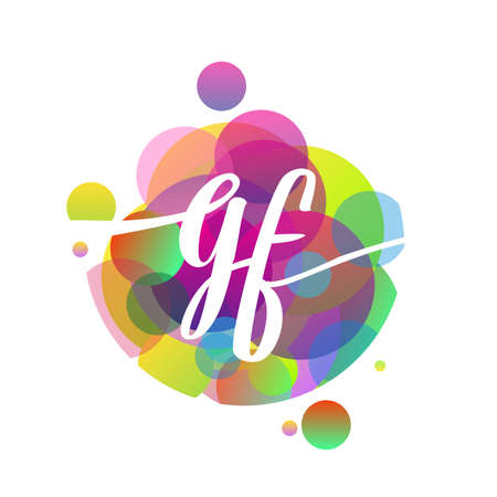 Letter GF logo with colorful splash background, letter combination logo design for creative industry, web, business and company.