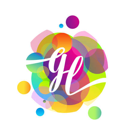Letter GL logo with colorful splash background, letter combination logo design for creative industry, web, business and company.