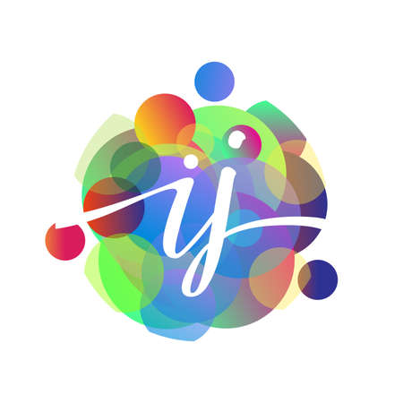 Letter IJ logo with colorful splash background, letter combination logo design for creative industry, web, business and company.