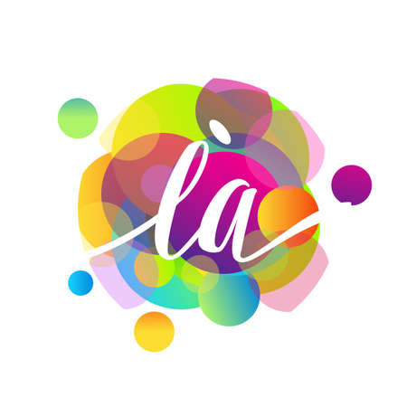 Letter LA logo with colorful splash background, letter combination logo design for creative industry, web, business and company.