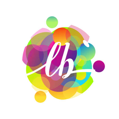 Letter LB logo with colorful splash background, letter combination logo design for creative industry, web, business and company. Logó